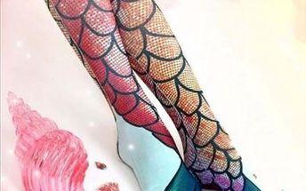 Vysoké ponožky s 3D motivem mořské panny
