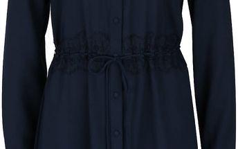 Tmavě modré propínací šaty s dlouhými rukávy VILA Cloe