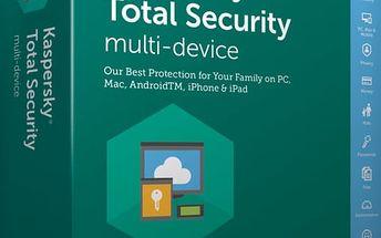 Kaspersky Total Security multi-device 2017 CZ pro 2 zařízení na 12 měsíců, obnovení licence - KL1919XCBFR