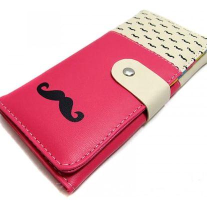 Moderní dámská peněženka s kníry - světle růžová - dodání do 2 dnů