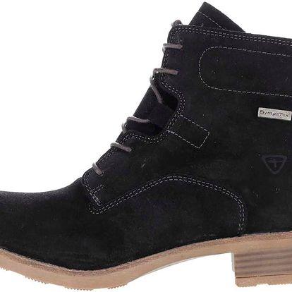 Černé semišové kotníkové boty s kožíškem Tamaris