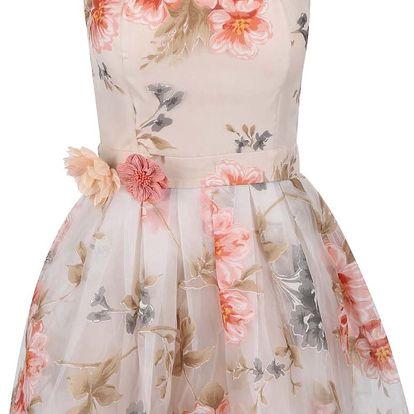 Krémové šaty s barevným květinovým potiskem Anna Smith
