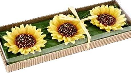 Dekorativní svíčka imitující květ slunečnice. Vhodná jako pozornost či dárek.