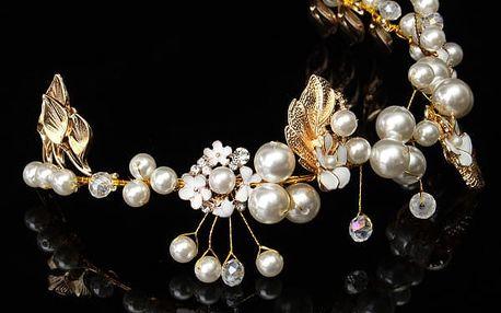 Čelenka s korálky do vlasů - bílé perly