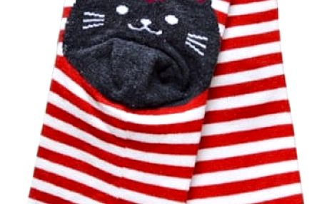 Pruhované ponožky s kočičkou - 6 barev