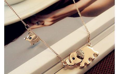 Náhrdelník se dvěma slony pro štěstí