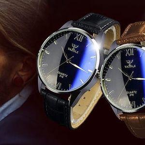 YAZOLE Pánské kožené hodinky