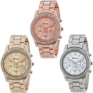 Dámské kovové hodinky se zdobením z broušeného skla - dodání do 2 dnů