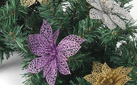 Umělá dekorace - květ Vánoční hvězdy