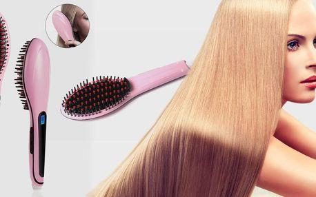 Ionizační kartáč na žehlení vlasů s LCD displejem, doručení zdarma