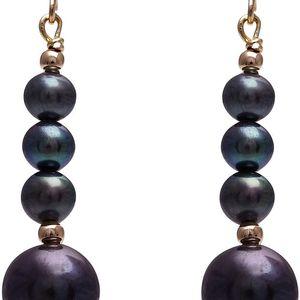 Náušnice s černou perlou GemSeller Syriaca - doprava zdarma!