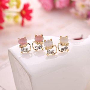 Náušnice s kamínky ve tvaru kočiček - 2 barvy