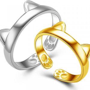 Nastavitelné prsteny s kočičím vzorem - 2 kusy