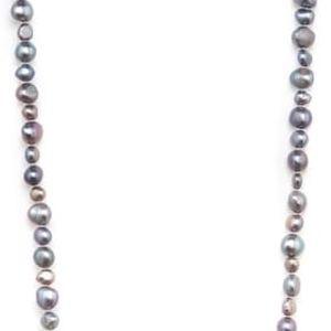 Tmavě šedý perlový náhrdelník GemSeller Baroque