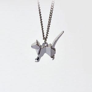 Originální náhrdelník s origami kočičkou přívěskem