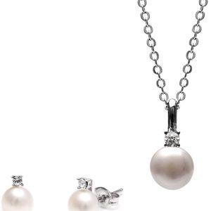 Sada náhrdelníku a náušnic s bílou perlou a Swarovski krystaly GemSeller Clussi