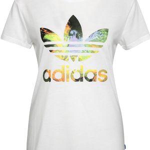 Bílé dámské tričko s barevným logem adidas Originals