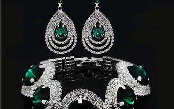 Set třpytivých šperků s kamínkem - 5 barev