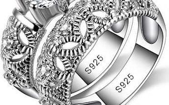 Prstýnek dvojitý s kamínky ve stříbrné barvě