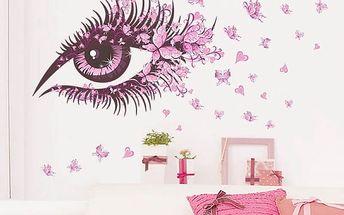 Samolepka na zeď - Růžové oko s motýly