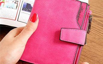 Prostorná peněženka se zapínáním na cvoček - 7 barev