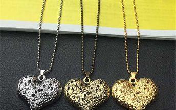 Módní náhrdelník s přívěskem ve tvaru dutého srdce