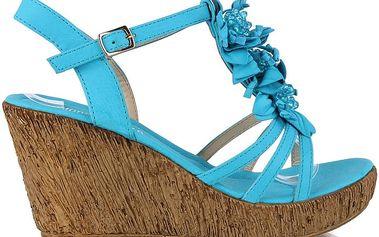 Sandálky na klínku MD7095-2BL 39