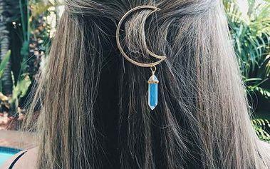 Spona do vlasů s krystalem - více barev