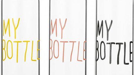 Přenosná plastová flaška na vodu s nápisem - různé barvy