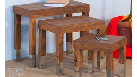 Sada 3 stoliček z palisandrového dřeva SOB Margao Rectangle - doprava zdarma!