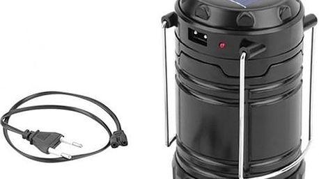 Silná solární lampa s USB, vydrží až 6 hodin. USB vstup pro nabíjení mobilních telefonů nebo tabletů