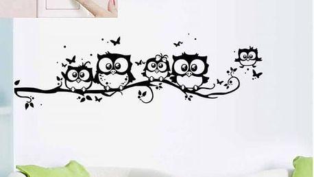Samolepka na zeď - Hejno veselých soviček