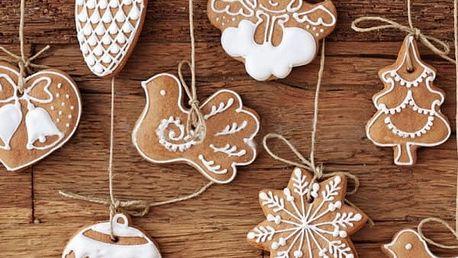 Umělé vánoční ozdoby ve stylu perníčků - 11 ks