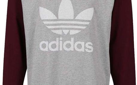 Vínovo-šedé pánské triko s potiskem adidas Originals