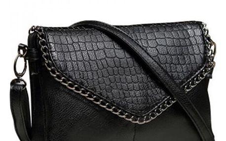 Malá kabelka s řetízkovým lemem - černá barva
