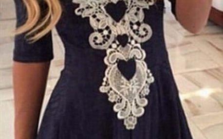 Dámské šaty s dlouhým rukávem zdobené háčkovanou krajkou - 5 velikostí
