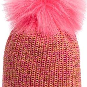 Vícebarevná čepice Avanti s růžovou bambulí