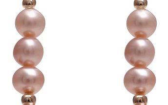 Náušnice s růžovou perlou GemSeller Syriaca - doprava zdarma!