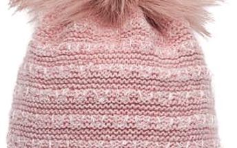 Růžová pletená čepice s růžovou bambulí