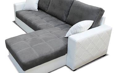 Rohová sedačka TERRA pravá, šedá látka/bílá ekokůže