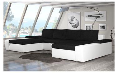 Rohová sedačka MARINO 09, černá látka/bílá ekokůže
