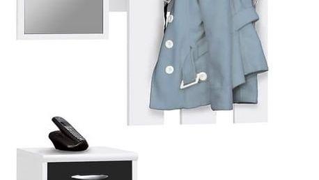 Předsíňová stěna RUDOLF, bílá/černá