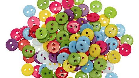 Plastové barevné knoflíky o průměru 9 mm - 55 kusů