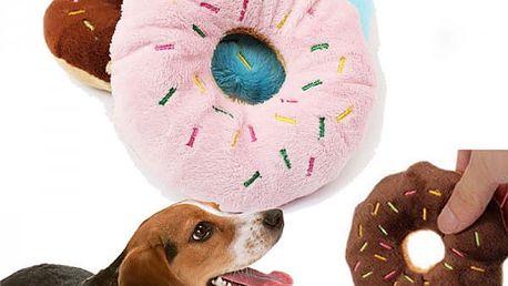 Plyšová hračka pro psy ve tvaru donutu