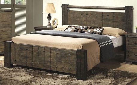 DeTAVOLA, postel 180x200 cm s roštem, masiv/hnědá