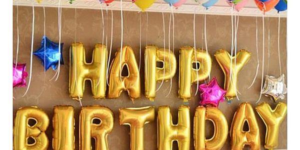 Nafukovací balónky ve tvaru písmen ve zlaté barvě