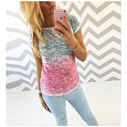 Dámské triko v atraktivní barevné kombinaci