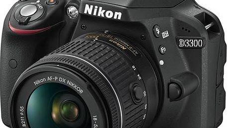 Digitální fotoaparát Nikon D3300 + AF-P 18-55 VR černý + Doprava zdarma