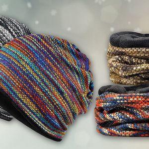 Hřejivý pletený nákrčník a čepice 2 v 1