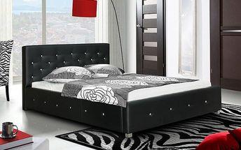 Postel IV - černá, matracový rám, úložný prostor, Swarovski